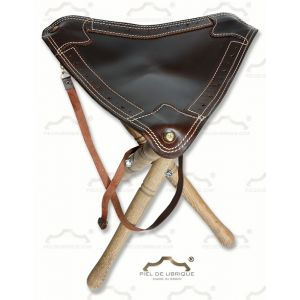 Banquillo de caza cuero marrón