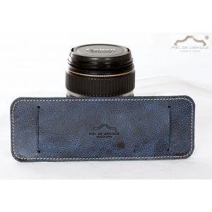 Hombrera cuero azul para cámara de fotos