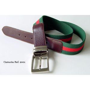 Cinturón bandera verde lona y piel