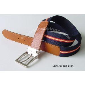 Cinturón azul bandera España y piel