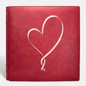 Álbum de fotos tradicional de boda, Rojo corazón