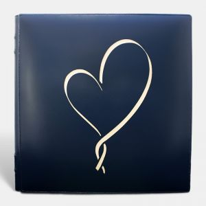 Álbum de fotos tradicional de boda,azul corazón