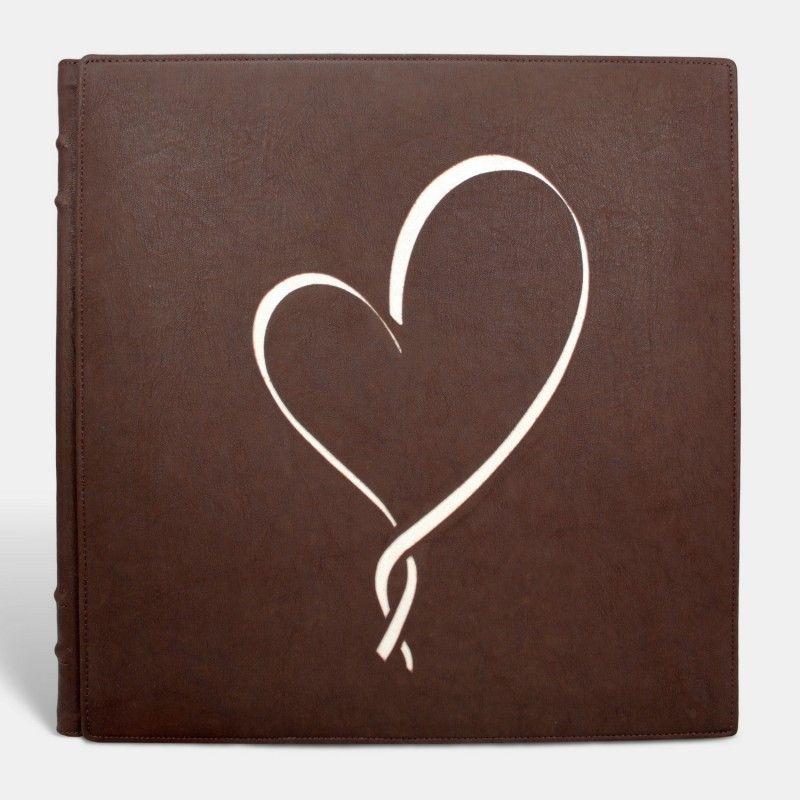 Álbum de fotos tradicional de boda, Marrón corazón