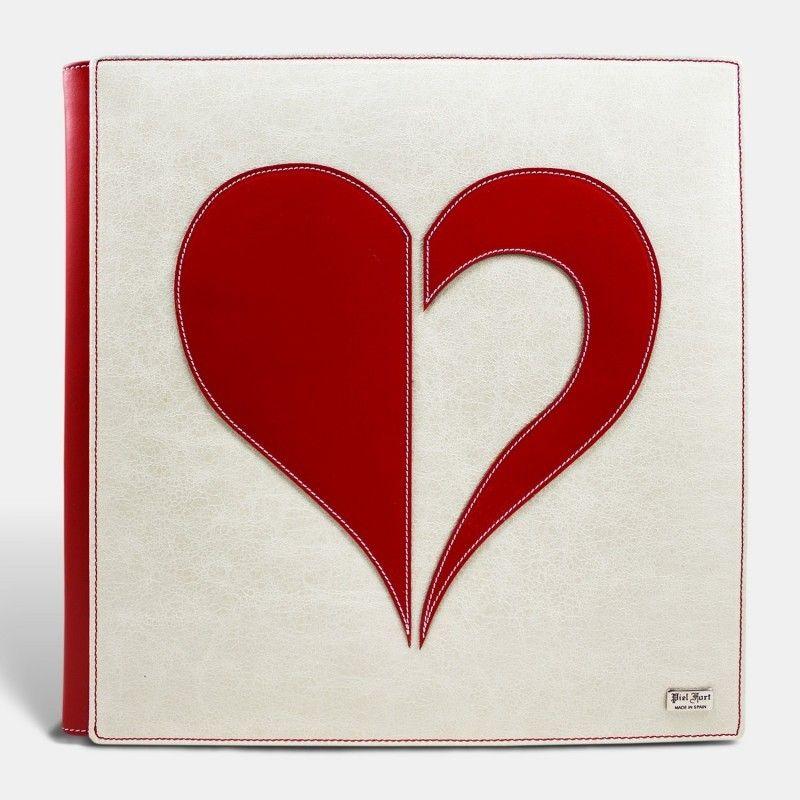 Álbum de fotos tradicional, blanco corazón rojo