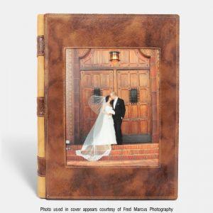 Álbum de fotos tradicional para bodas con ventana, Cuero wild