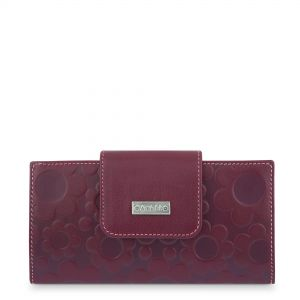 Cartera Billetera en Piel Amichi - grabado Flores Color Cereza