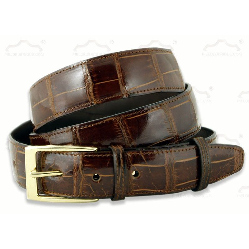 completamente elegante comprar navegar por las últimas colecciones Cinturón de piel de cocodrilo autentico de color coñac