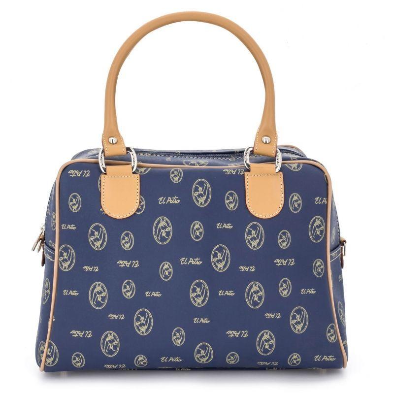 Bolso mano mujer bowling azul lona