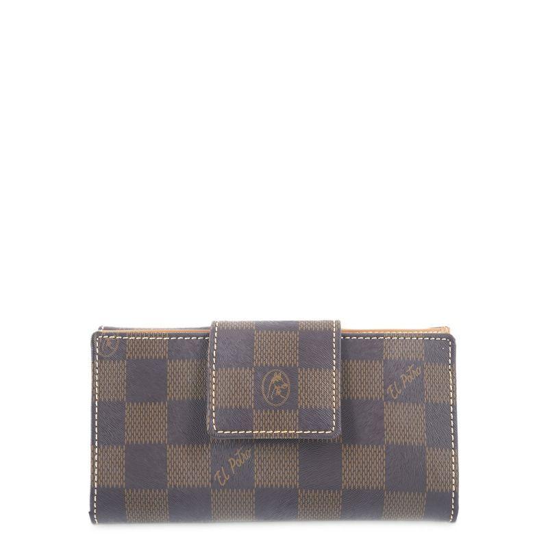 Cartera billetera mujer marrón chess