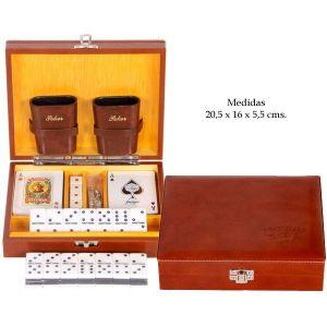 Caja juegos madera forrada en simil piel