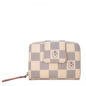 Cartera billetera mujer beige chess