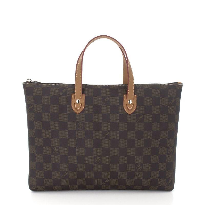 Bolso mano mujer carpeta marrón chess