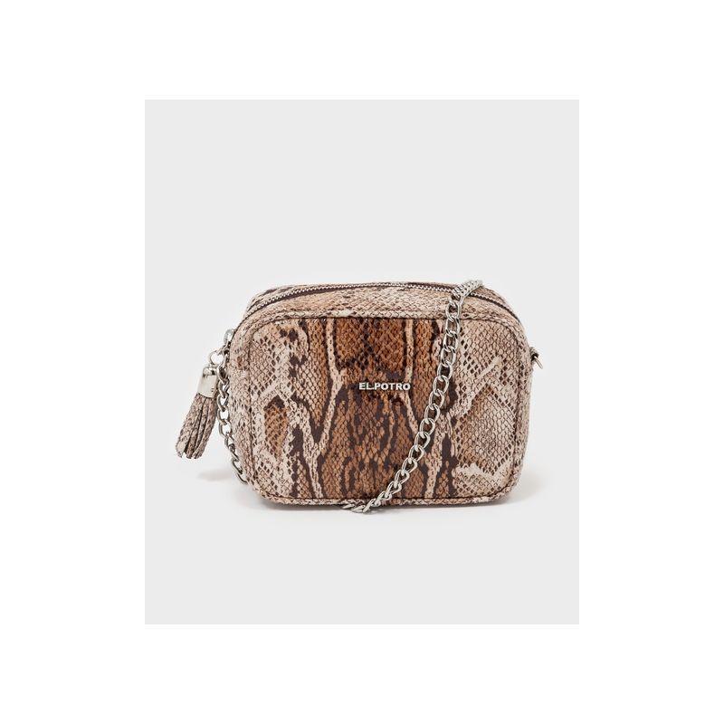 Bolso bandolera mujer camel serpiente