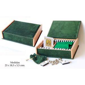 Caja de juegos de mesa en piel de serraje