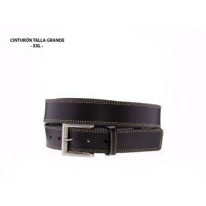 Cinturón Talla Grande Cuero Dos Costuras Negro