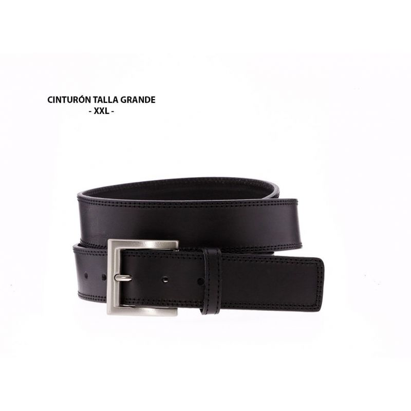 Cinturón Talla Grande Dos costuras tono Negro
